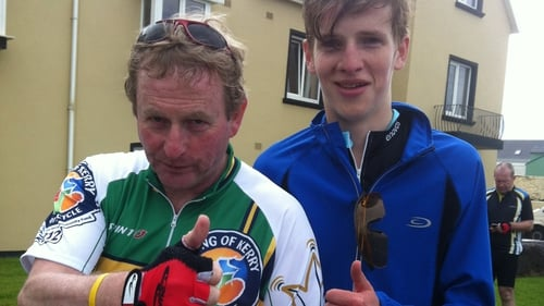 Enda Kenny and his son Ferdia before setting off on the cycle
