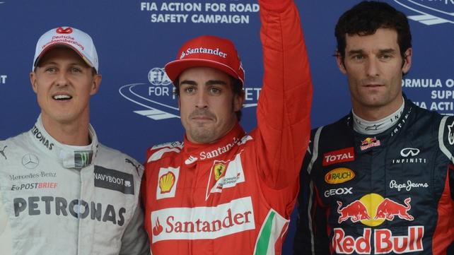 Mercedes' German driver Michael Schumacher (l), Ferrari's Spanish driver Fernando Alonso (c) and Red Bull Racing's Australian driver Mark Webber