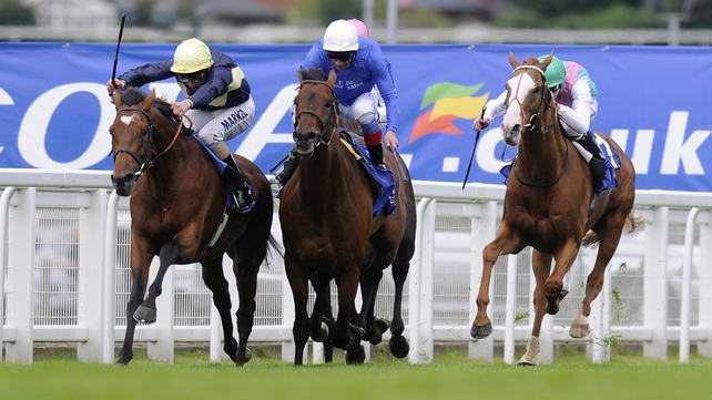 Nathaniel (l) battled bravely to deny the challenge of Farhh (white cap) in the Coral Eclipse