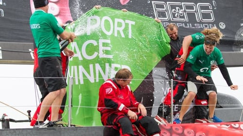 PUMA Ocean Racing celebrates winning the Discover Ireland In-Port Race