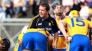 Clare manager Davy Fitzgerald gives his charges some words of encouragement