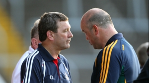 Jimmy Barry-Murphy and his Offaly counterpart Ollie Baker exchange a few post-match words