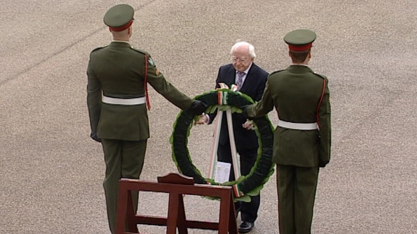 President Michael D Higgins laid a wreath at the event in Dublin