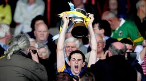 Tipp's Dylan Fitzelle lifts the Munster minor trophy