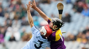 Dublin's Cian O'Callaghan and Conor McDonald of Wexford fight for possession
