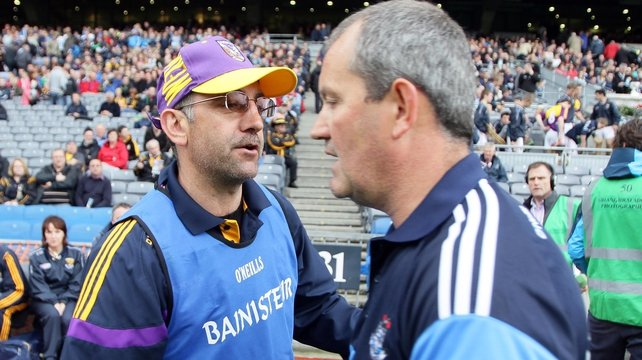 Managers Shay Boland of Dublin and Martin Storey of Wexford after the game