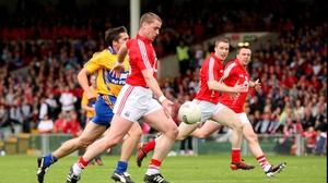 Cork's Fintan Goold scores the opening goal of the Munster senior final