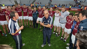 Galway manager Anthony Cunningham keeps his charges' feet on the ground with a post-match address