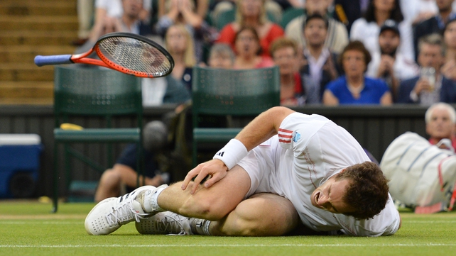 Andy Murray suffers a heavy fall on Centre Court and crumples to the ground