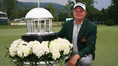 Ted Potter Jr with the Greenbrier Classic trophy