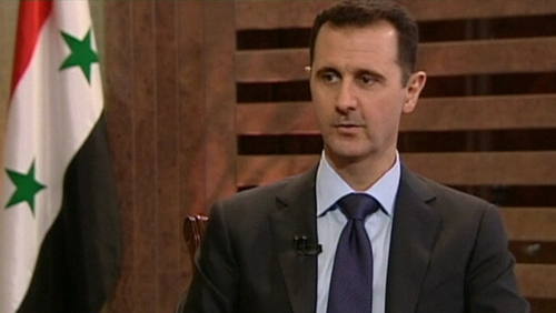 Bashar al-Assad accused the west of hypocrisy yesterday