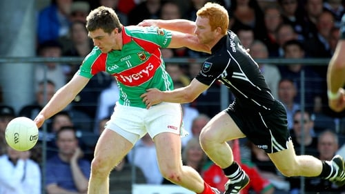 Seamus O'Shea of Mayo is tackled by Sligo's Ross Donovan during the 2010 Connacht quarter-final clash which the Yeats county won