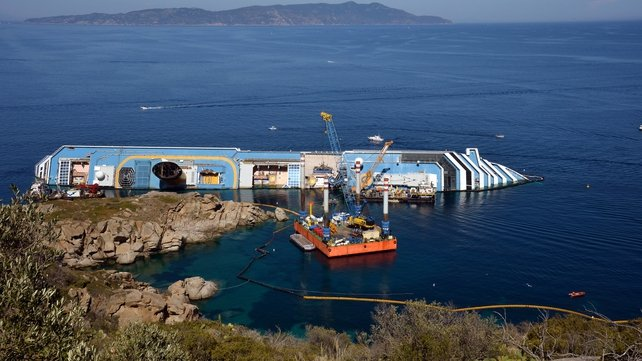 The Costa Concordia still lies off the coast of Giglio