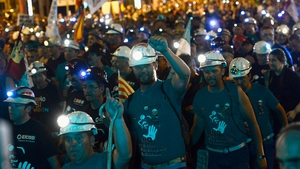 Hundreds of miners marched through Madrid overnight