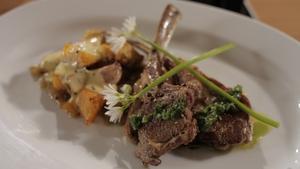 Grilled lamb chops with wild garlic pesto