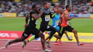 Tyson Gay wins the 100m final at the Aviva London Grand Prix