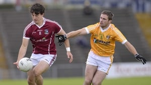 Galway's Sean Armstrong is pursued by Tony Scullion