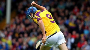 Diarmuid Lyng celebrates scoring Wexford hurlers' first goal against Cork