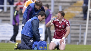 Galway's Gary Sice takes a sip of water at Casement Park
