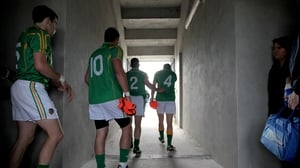 Leitrim players make their way out for the start of the game at Páirc Seán Mac Diarmada
