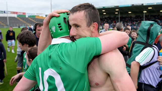Niall Moran (r) celebrates after the game with fellow forward Shane Dowling