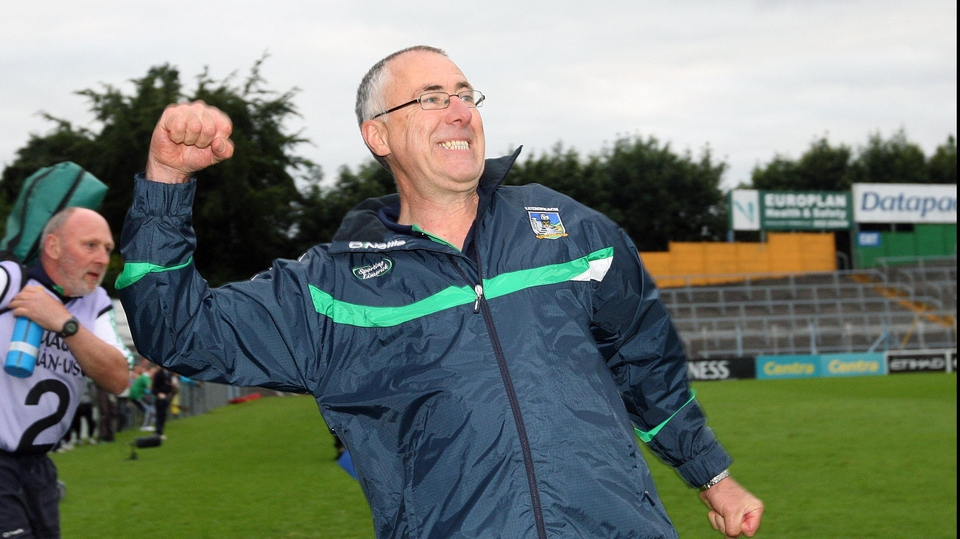Limerick manager John Allen celebrates at the final whistle