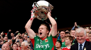 Mayo captain Andy Moran lifts the JJ Nestor Cup after Mayo's 0-12 to 0-10 victory