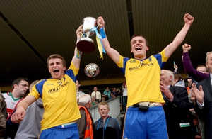 Roscommon's joint minor captains Kevin Finn and Enda Smith lift the Connacht trophy