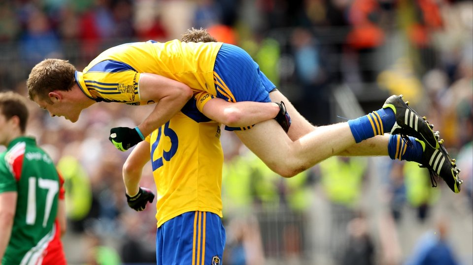 Roscommon's Thomas Corcoran and Ciaran Cassidy celebrate at the final whistle of the Connacht minor final