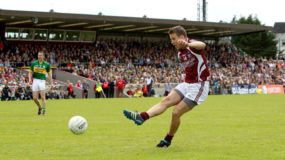 Westmeath's David Glennon scores the Lakesmen's first goal of the game from a penalty