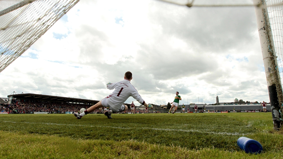 Kerry midfielder Bryan Sheehan converts a first-half penalty