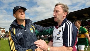 Westmeath manager Pat Flanagan and his Kerry counterpart Jack O'Connor shake hands after the game