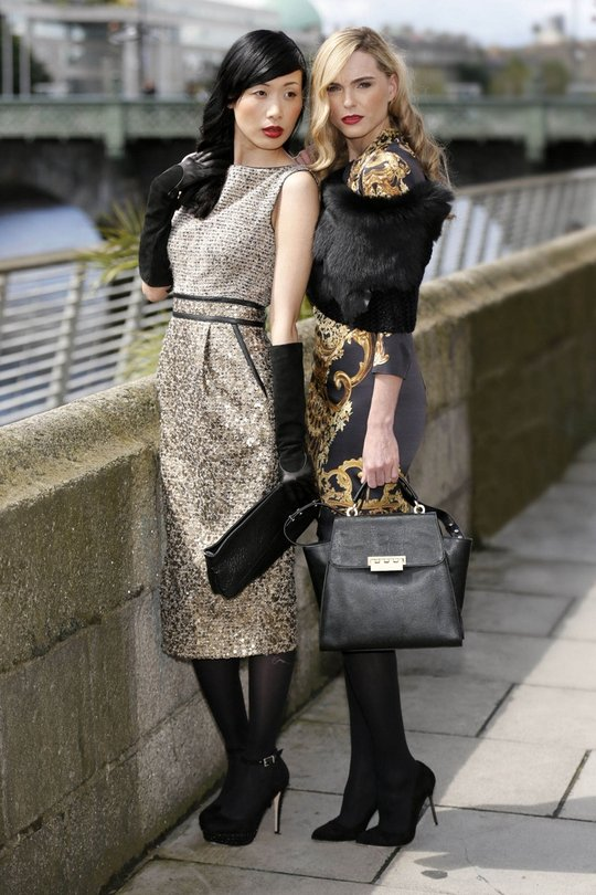 (L): Badgley Mischka tweed dress €510, Halston Heritage black leather clutch €365, Gala suede leather gloves. (R): Just Cavalli gold skirt €245 and Just Cavalli cap sleeve satin tee, €410, Z-Ppoke by Zac Posen black leather bag €365, Gushlow and Cole blac