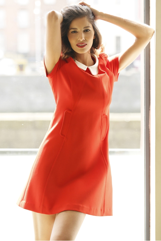 Tara Jarmon Red Peter Pan Collar Dress, €300