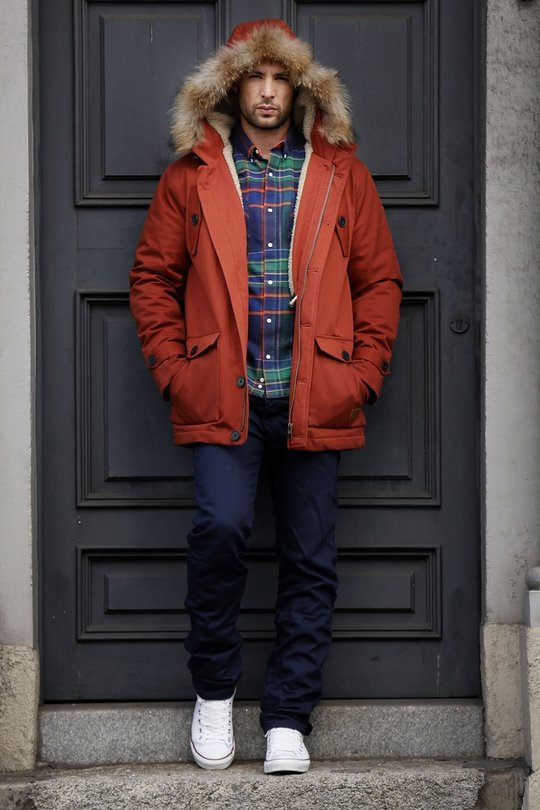 Diesel navy jeans €145, Lacoste live plaid shirt €99, Minimum red jacket with fur collar €225