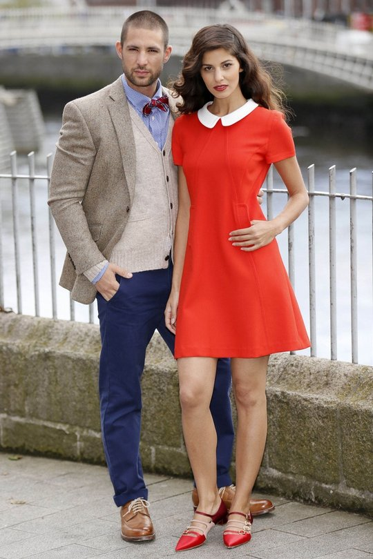 (L): Fred Perry check blue shirt €90, Brooks Brothers navy chino €115, Ralph Lauren knit cardigan €130 Richard James mayfair tweed jacket €450. (R): Tara Jarmon Red Peter Pan Collar Dress, €300