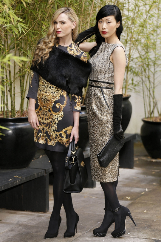 (L): Just Cavalli gold skirt €245 and Just Cavalli cap sleeve satin tee, €410, Z-Spoke by Zac Posen black leather bag €365, Gushlow and Cole black knit scarf €240. (R): Badgley Mischka tweed dress €510, Halston Heritage black leather clutch €365, Gala sue