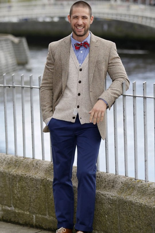 Fred Perry check blue shirt €90 Brooks Brothers navy chino €115 Ralph Lauren knit cardigan €130 Richard James mayfair tweed jacket €450