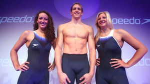 Olympic athletes Georgia Hohmann, Adam Brown and Rebecca Adlington pose for a picture during the Speedo Fashion Show and Fastskin3 Racing System Launch