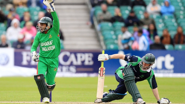 Ireland's Niall O'Brien is stumped by Bangladesh's Mushfiqur Rahim at Stormont