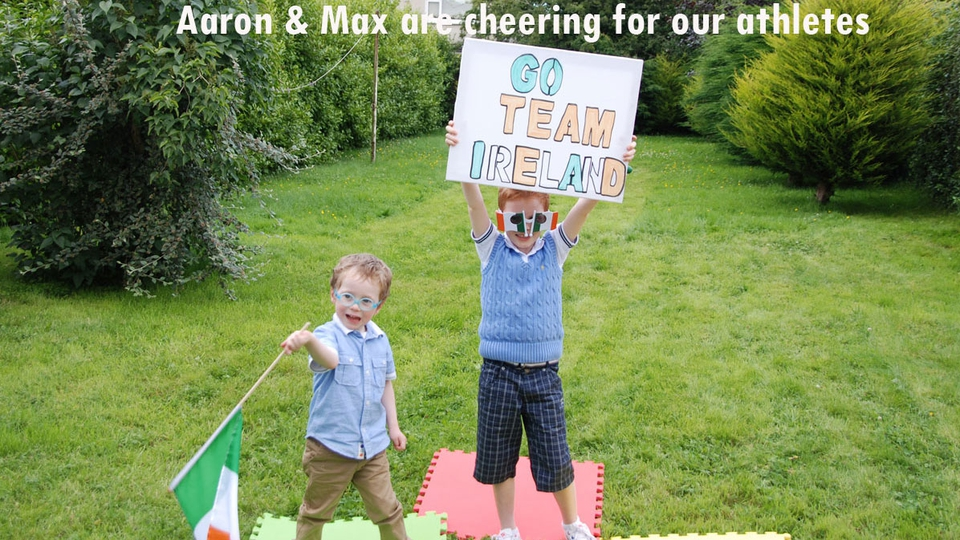Aaron O'Grady (3) and Max Aldren (5) get behind Ireland's athletes