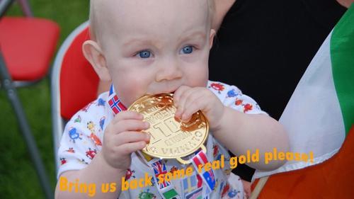 Callum Birch Whelan (11 months) shows his support for Team Ireland