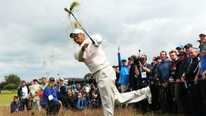 Tiger Woods playing a Seve-esque shot out of the punitive rough in Lytham