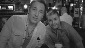 The Boss in his regular Dublin watering hole, The Long Hall, with barman Val