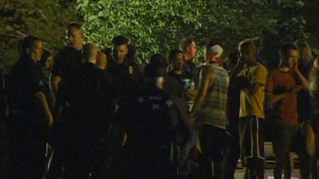 Cinema goers were evacuated as the gunfire erupted