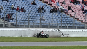 Michael Schumacher crashes his Mercedes during the second practice session at the Hockenheimring