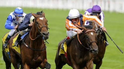 Danedream (r), seen here beating Nathaniel in the King George, landed a Group 1 prize in her native Germany today