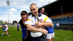 But Tipp ran out 0-10 to 0-08 winners, leaving manager Peter Creedon (white top) and selector Gerry McGill to celebrate at the final whistle