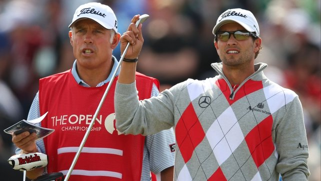 Leader Adam Scott plays in the final group on Sunday with Graeme McDowell