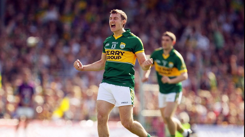 Kerry corner-forward James O'Donoghue celebrates scoring a first-half point.